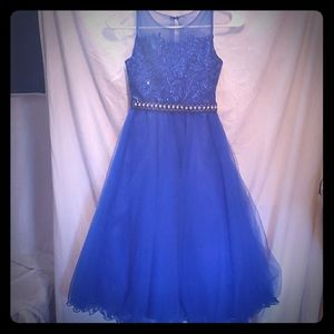 Girls Blue occasion party holiday gown sz8 #51
